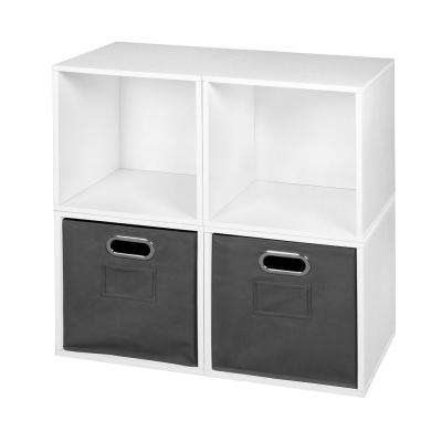 Cubo 26 in. H x 26 in. W White Wood Grain/Grey 4-Cube and 2-Bin Organizer