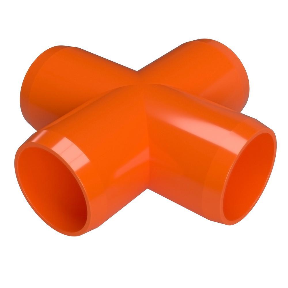 1/2 in. Furniture Grade PVC Cross in Orange (10-Pack)