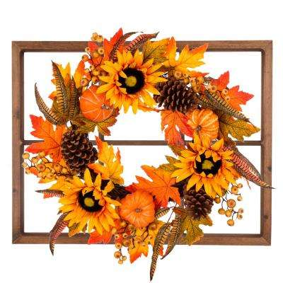 28 in. L x 24 in. W x 7 in. H Wooden Window Frame with Sunflower Wreath