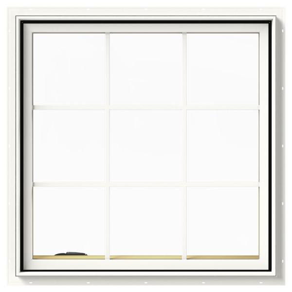 36 in. x 36 in. W-2500 Series White Painted Clad Wood Left-Handed Casement Window with Colonial Grids/Grilles