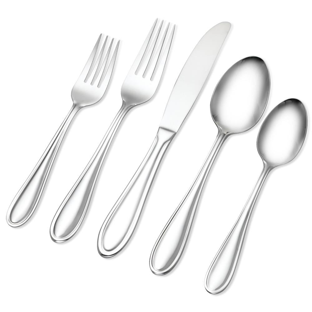 Lincoln 66-Piece 18/0 Silver Flatware Set with Wire Caddy