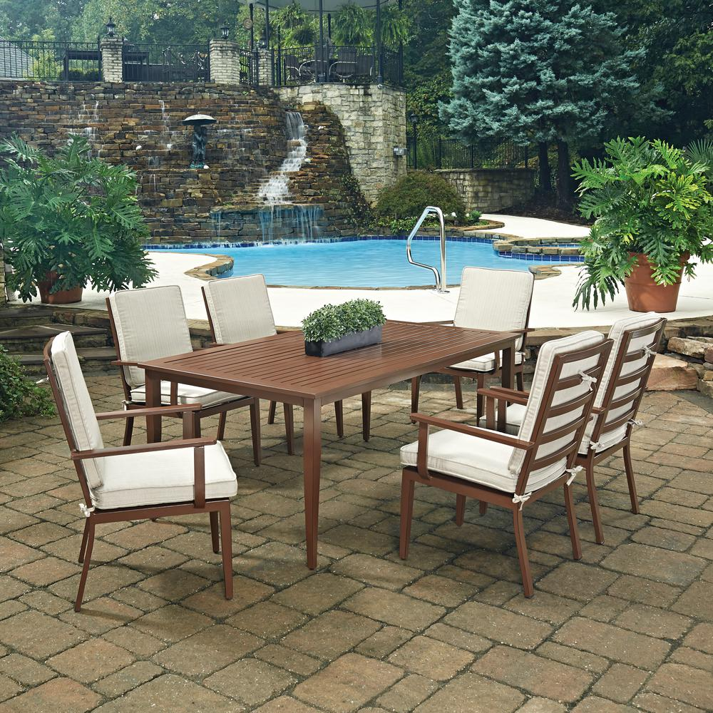 429b2cf9ae ... Outdoor Dining Set With. Walker Edison Furniture Company Boardwalk 6  Piece Dark Brown Acacia
