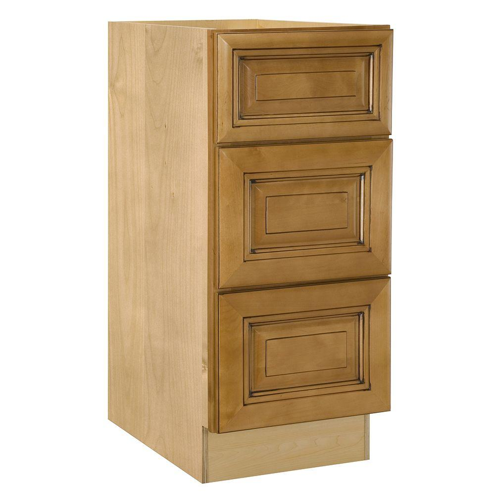 Lewiston Embled 18x34 5x21 In 3 Drawers Base Vanity Cabinet Toffee Glaze