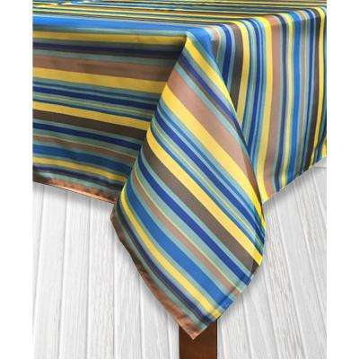 Indoor/Outdoor 60 in. x 104 in. Santa Fe Blue Polyester Tablecloth