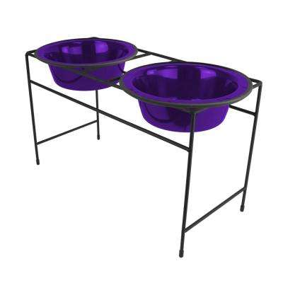 6.25 Cup Modern Double Diner Feeder with Dog Bowls, Electric Purple