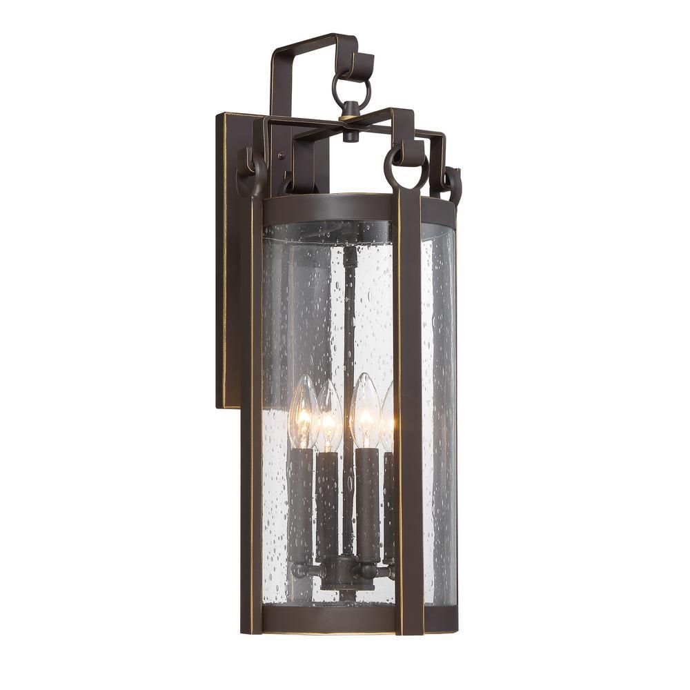 Somerset Lane 4-Light Dakota Bronze Outdoor Traditional Light Sconce with Seeded Glass
