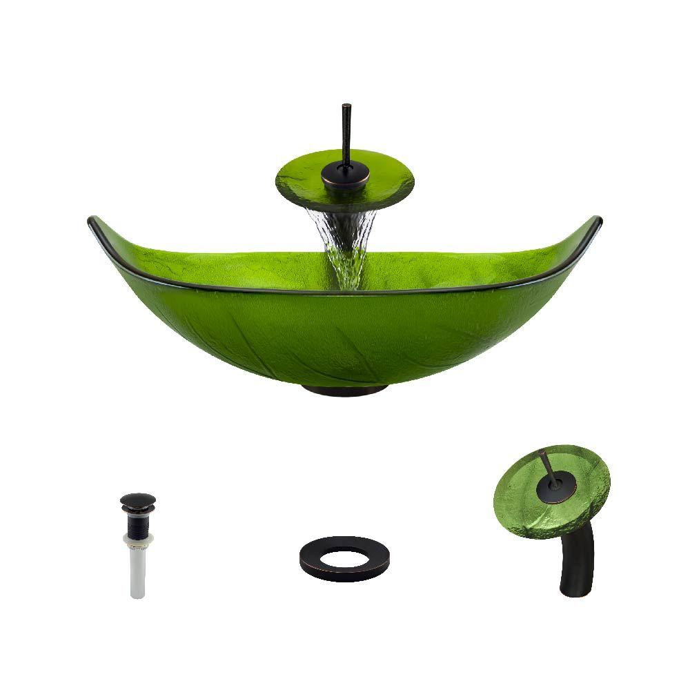 MR Direct Glass Vessel Sink In Green Leaf With Waterfall Faucet And Pop Up  Drain