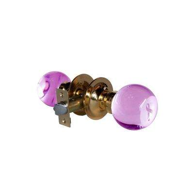 Pink Ribbon Crystal Brass Passive Door Knob with LED Mixing Lighting Touch Activated