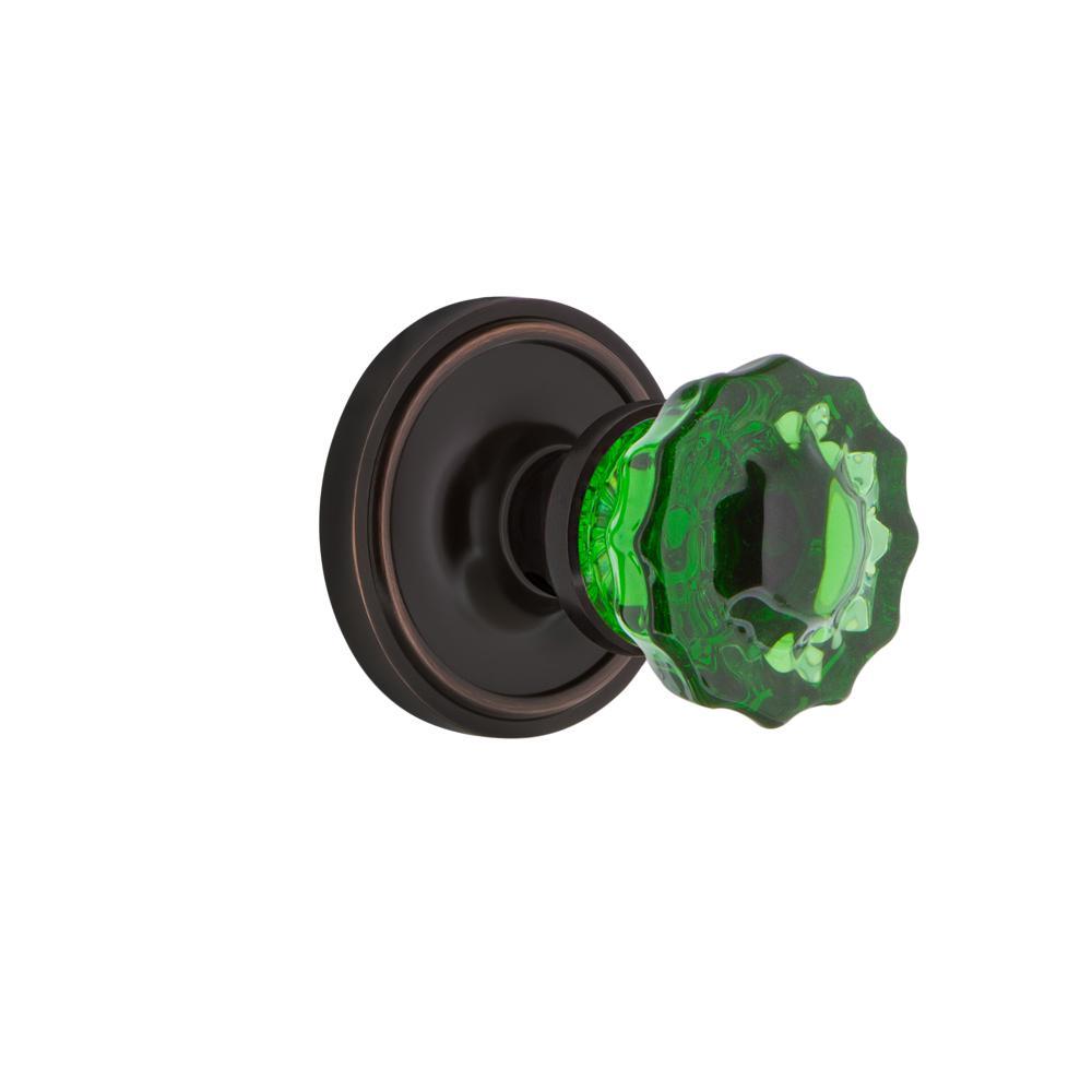 Classic Rosette 2-3/8 in. Backset Timeless Bronze Passage Crystal Emerald Glass