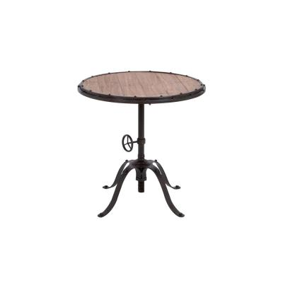 LITTON LANE Black Turn Crank Style Round Table with Brown Slatted Wood Table Top, Black/Brown