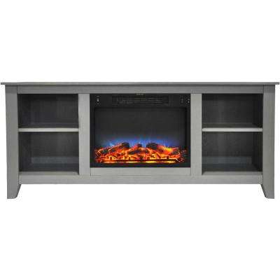 Santa Monica 63 in. Freestanding Electric Fireplace and Entertainment Stand in Gray withMulti-Color LED Insert