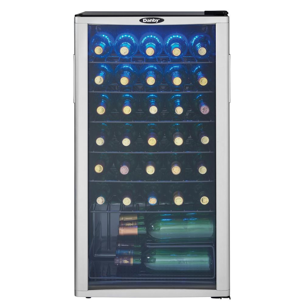 Danby 35-Bottle Wine Cooler in Platinum/Black, Black With Platinum Door Trim