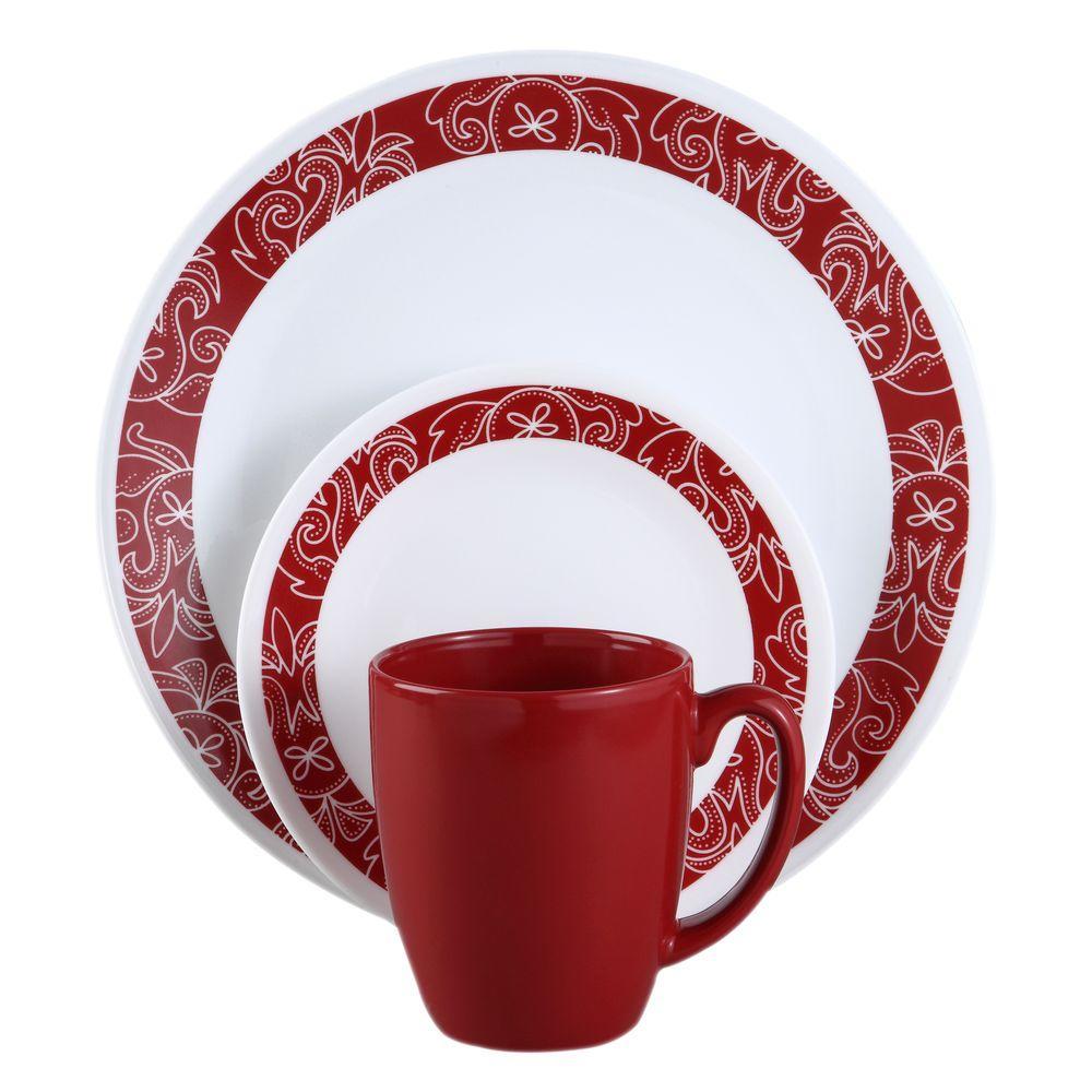 corelle classic 16 piece bandhani dinnerware set 1103061 the home rh homedepot com