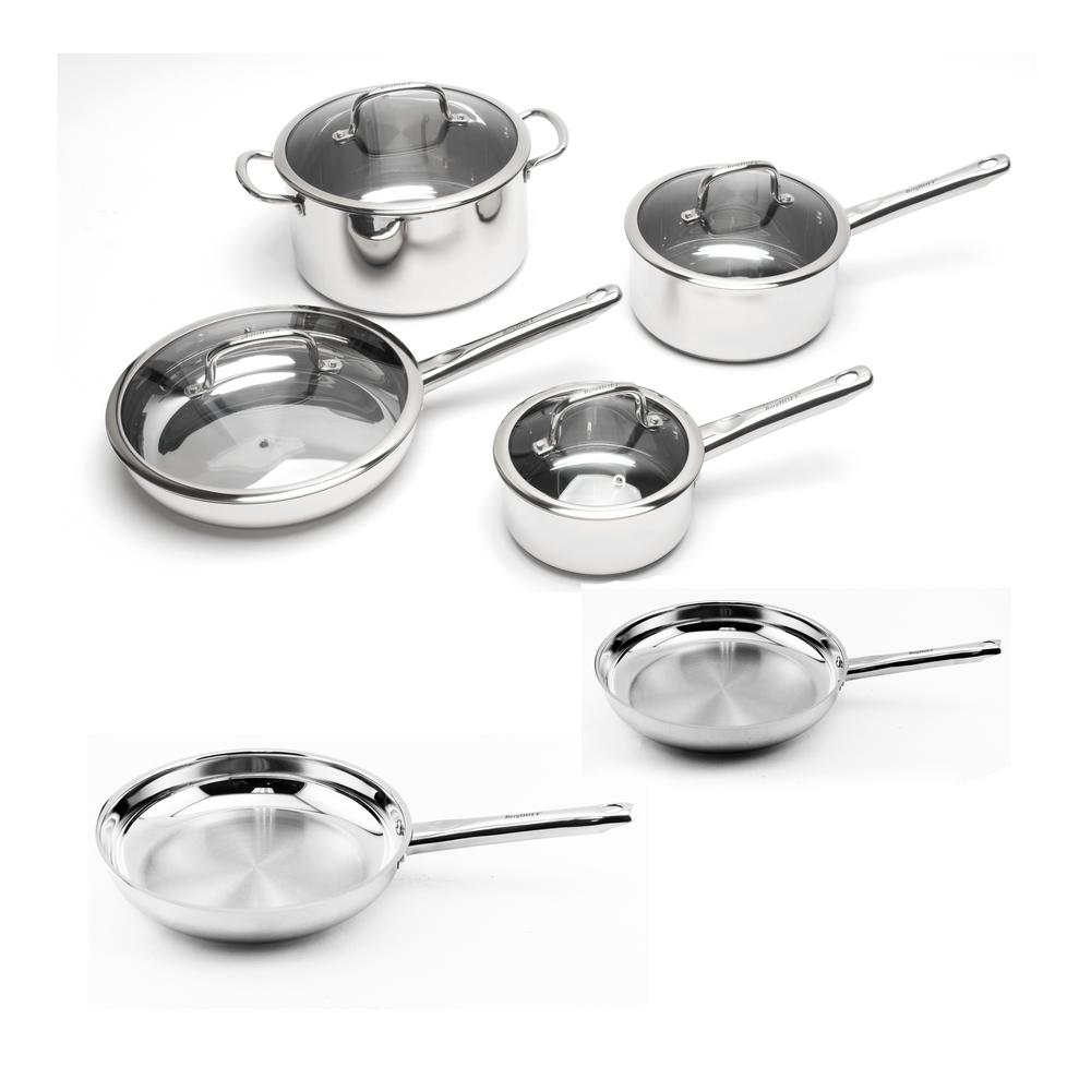 Earthchef Boreal 10 Piece Stainless Steel Cookware Set, Silver
