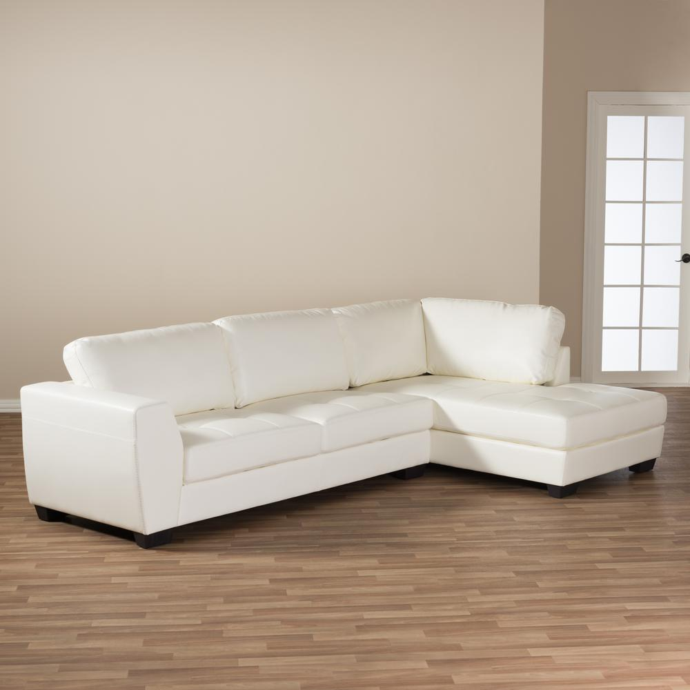 Contemporary Sectional: Baxton Studio Orland 2-Piece Contemporary White Faux