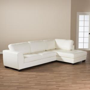 Baxton Studio Orland 2-Piece Contemporary White Faux Leather ...