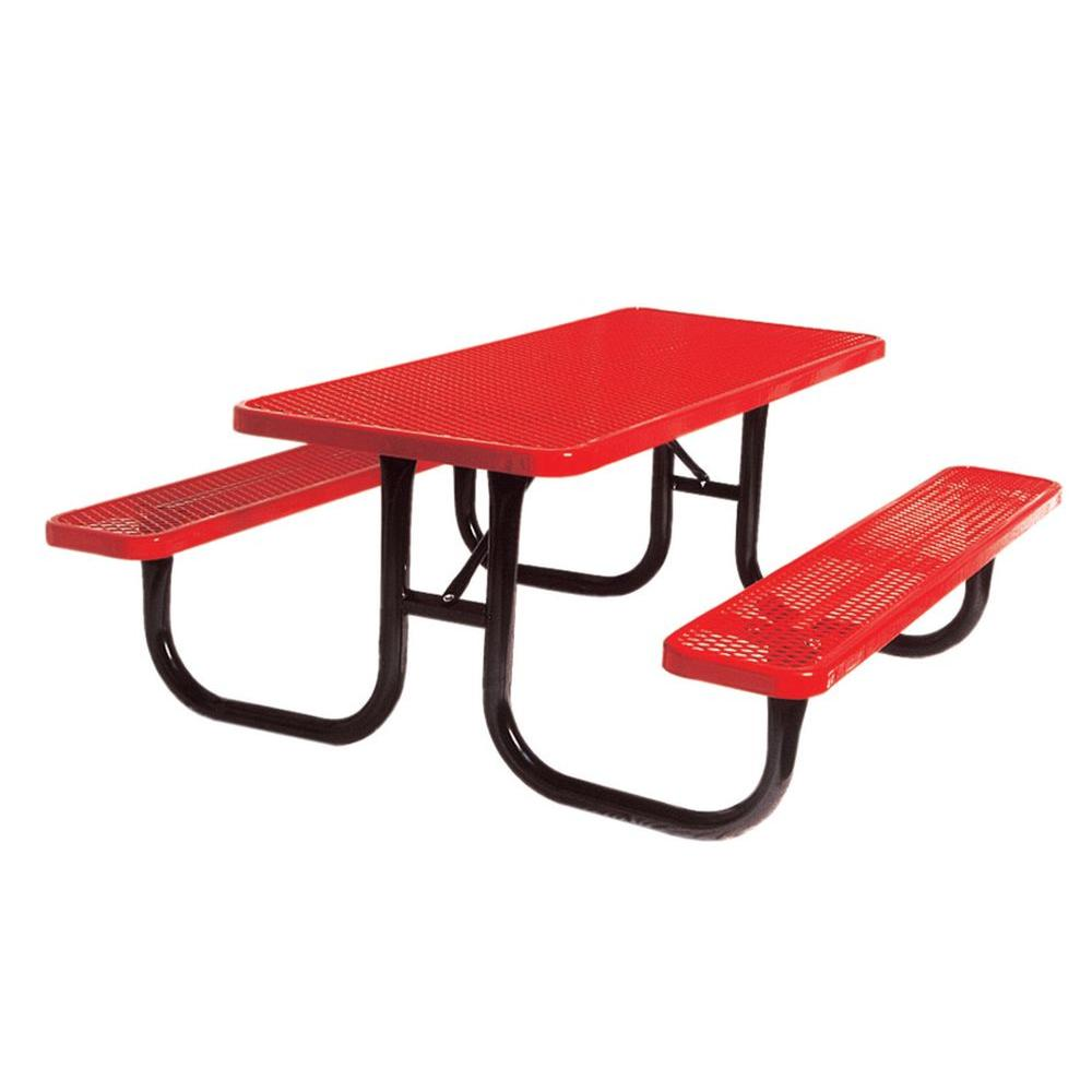 Ultra Play 8 ft. Diamond Red Commercial Park Portable Rectangular Table