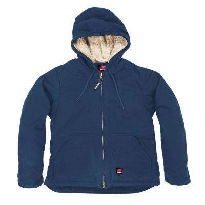 Women's Small Deep Ocean Cotton Fine Sherpa Lined Washed Hooded Coat