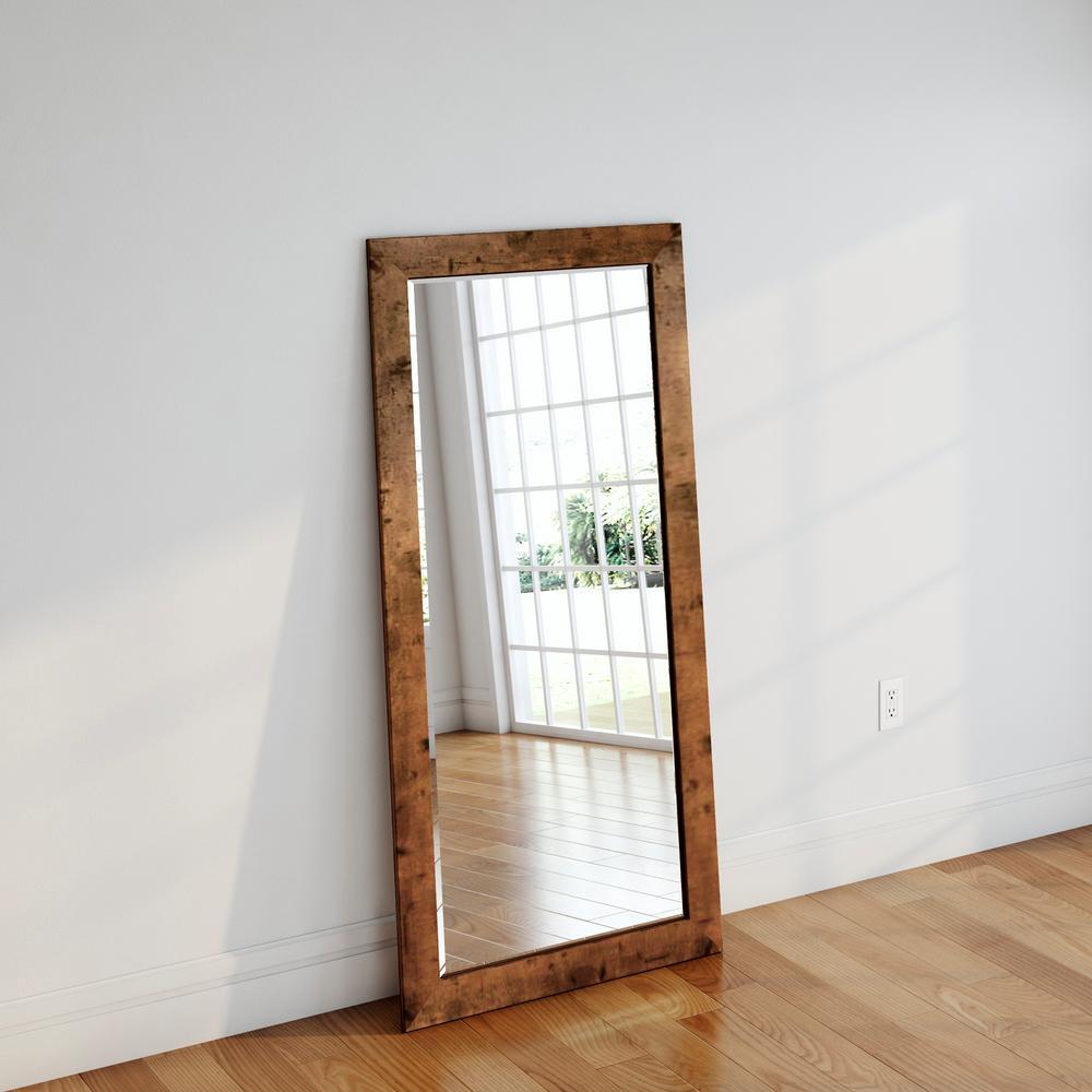 32 In X 655 In Rustic Light Walnut Beveled Full Body Mirror
