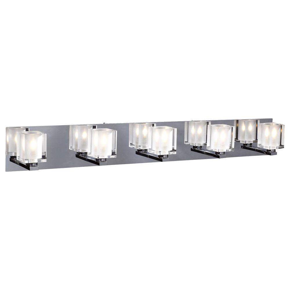5-Light Polished Chrome Bath Vanity Light with Acid Frost Glass Shade