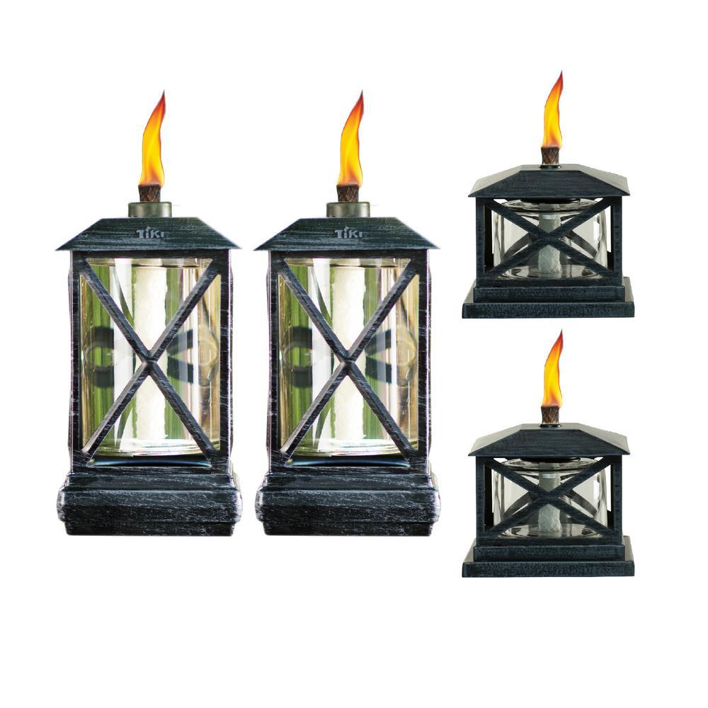 (2) 65 in. Square Beacon Metal Torch Black Plus (2) Petite Lantern Metal Table Torch Black