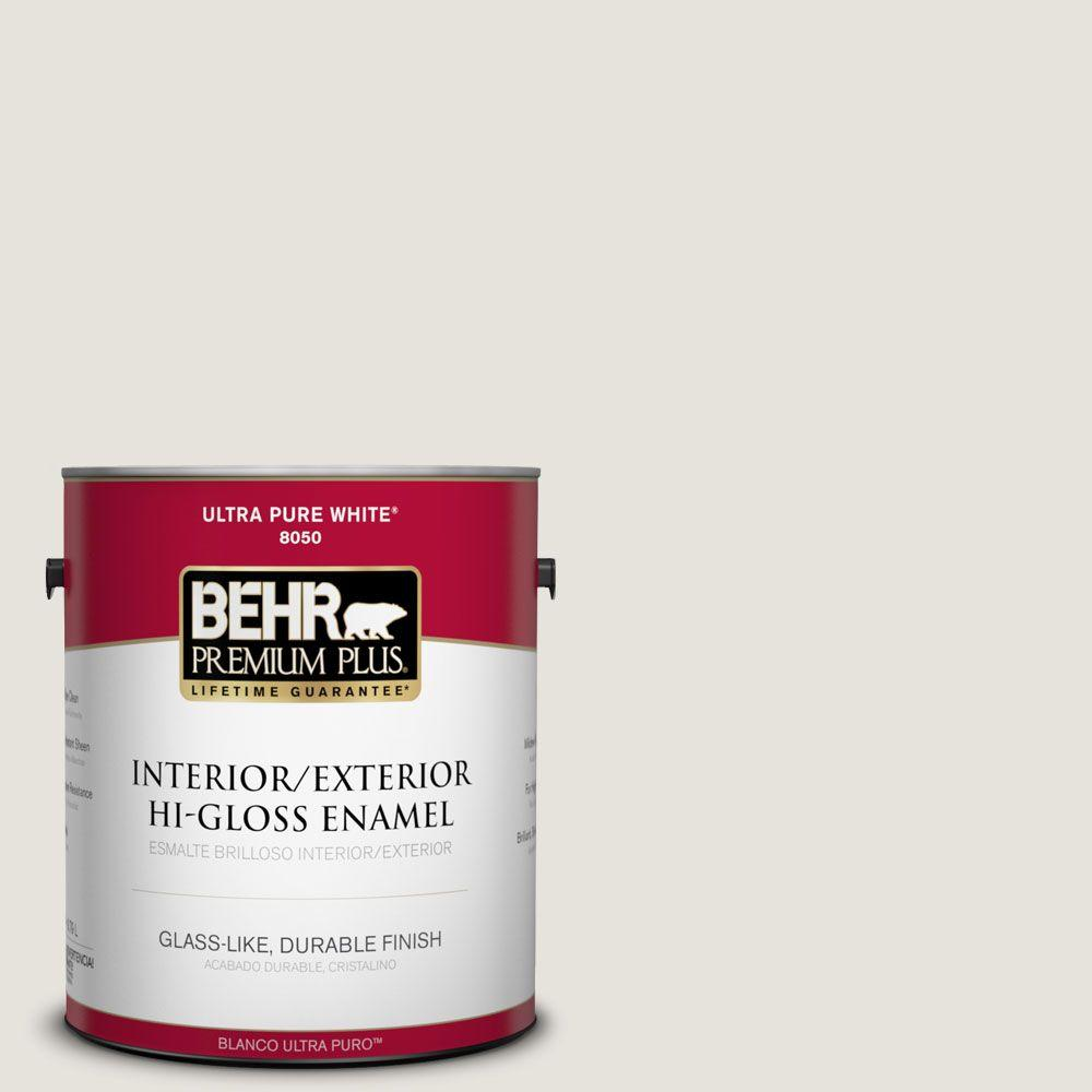 BEHR Premium Plus Home Decorators Collection 1-gal. #HDC-NT-21 Weathered White Hi-Gloss Enamel Interior/Exterior Paint
