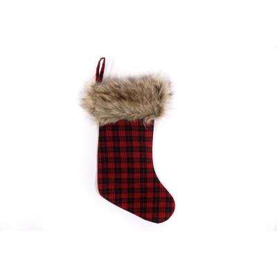 10.5 in. x 20 in. Buffalo Plaid Polyester Felt Christmas Stocking