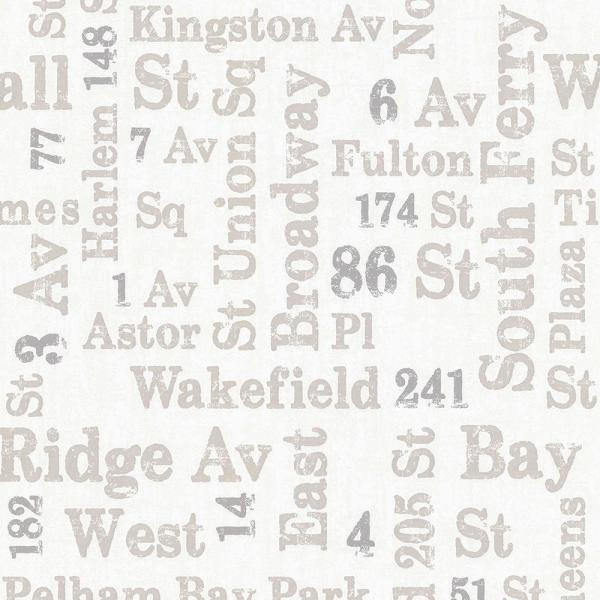 Advantage 56.4 sq. ft. Ellis Taupe Typography Wallpaper 2773-886719
