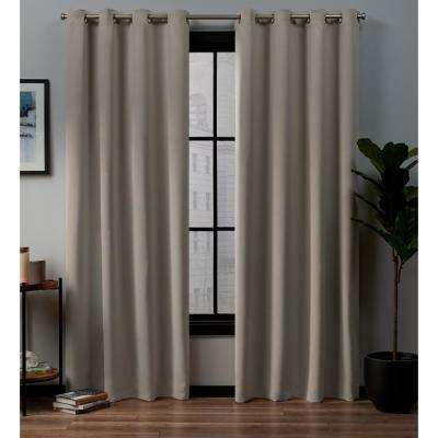 Academy 52 in. W x 96 in. L Woven Blackout Grommet Top Curtain Panel in Vintage Linen (2 Panels)