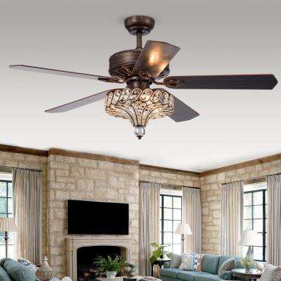 Pilette 52 in. Antique Speckled Bronze Crystal Shade Ceiling Fan with Light Kit and Remote Control