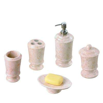 Pedestal 5-Piece Bath Set in Champagne Polished Marble