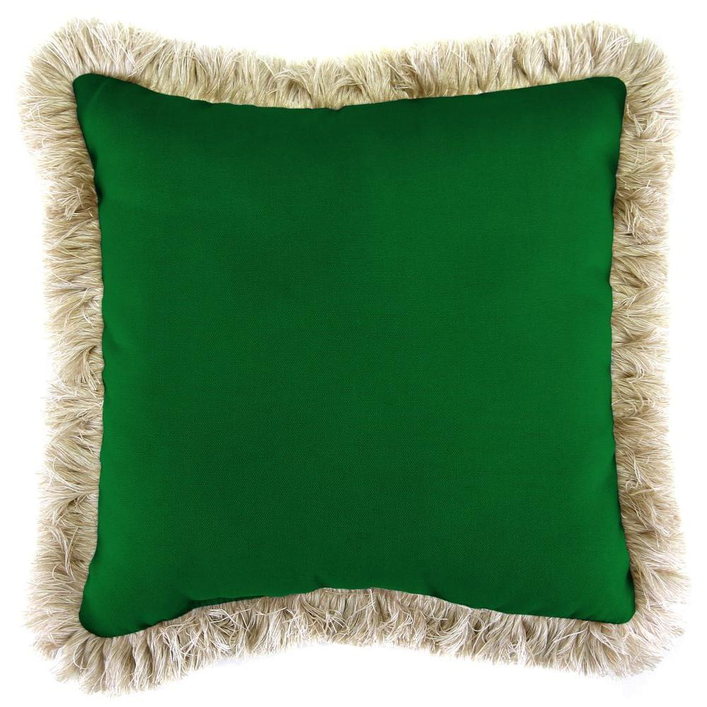 Sunbrella Canvas Forest Green Square Outdoor Throw Pillow with Canvas Fringe