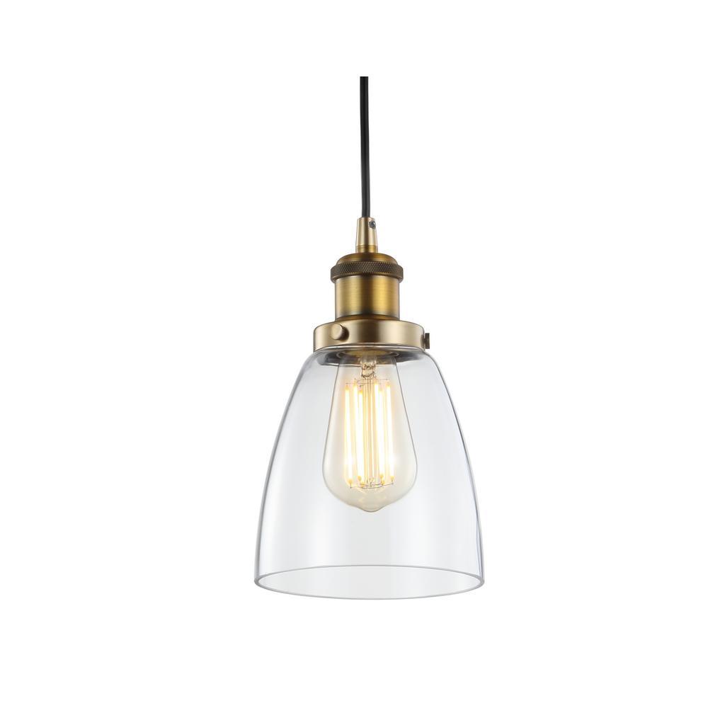 Cleo 5.5 in. 1-Light Brass Gold Adjustable Metal/Glass LED Pendant
