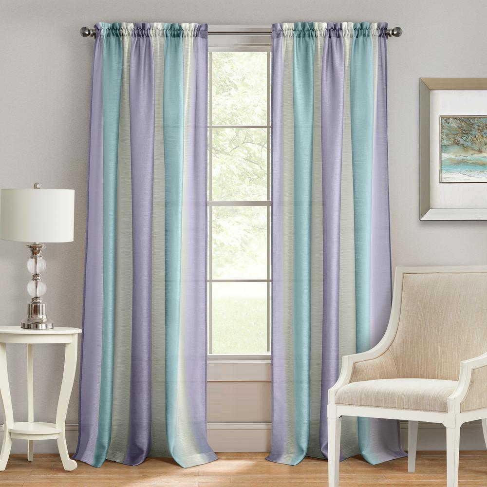 Spectrum Lilac Turquoise Rod Pocket Curtain 50 In W X 84 L
