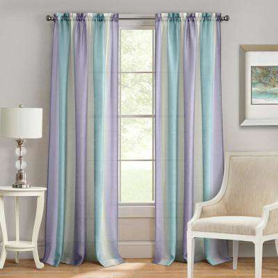 Spectrum Lilac/Turquoise Rod Pocket Curtain - 50 in. W x 84 in. L