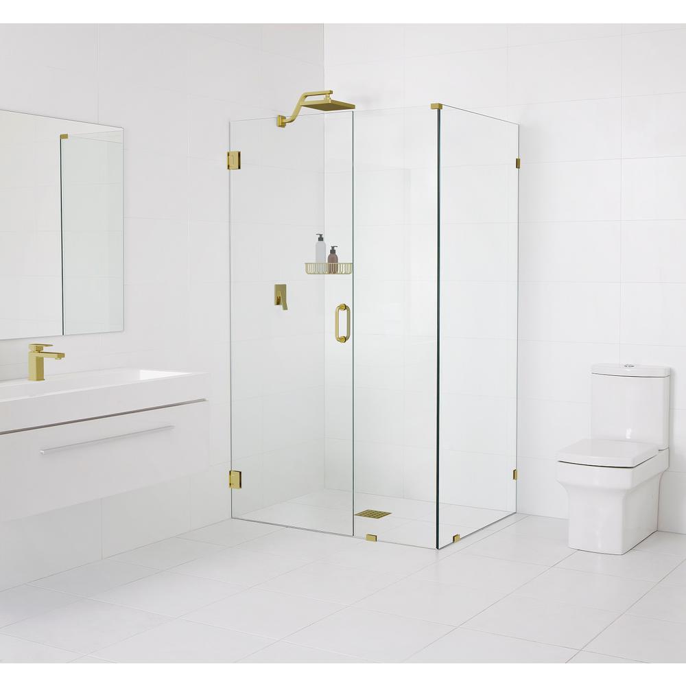 90° Wall-Hinged 33.5 in. x 78 in. x 34 in. Frameless Pivot Shower Door in Satin Brass