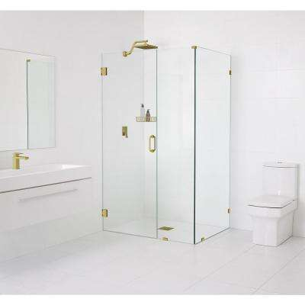 90° Wall-Hinged 46.5 in. x 78 in. x 34.5 in. Frameless Pivot Shower Door in Satin Brass