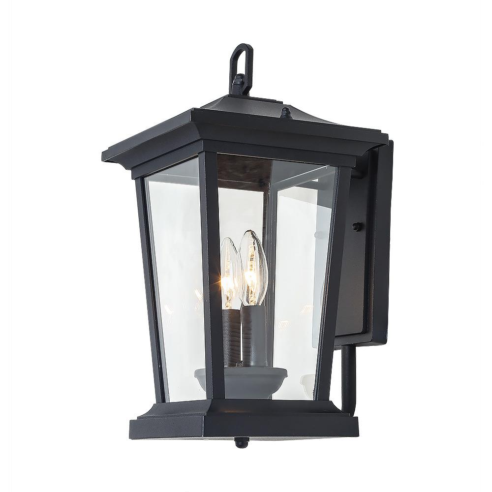 LNC 2-Light Candle Style Black Outdoor Wall Mount Lantern