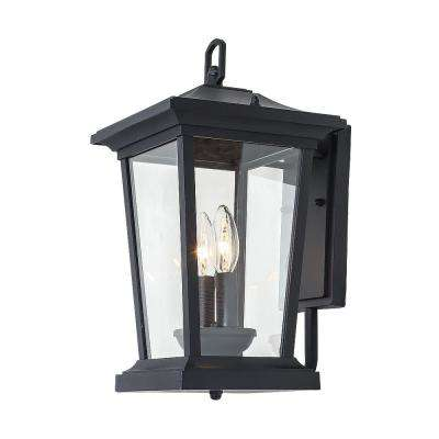 2-Light Candle Style Black Outdoor Wall Mount Lantern with Clear Glass