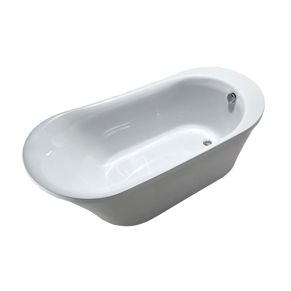 Nimes 70 in. Acrylic Flatbottom Left Bathtub in White