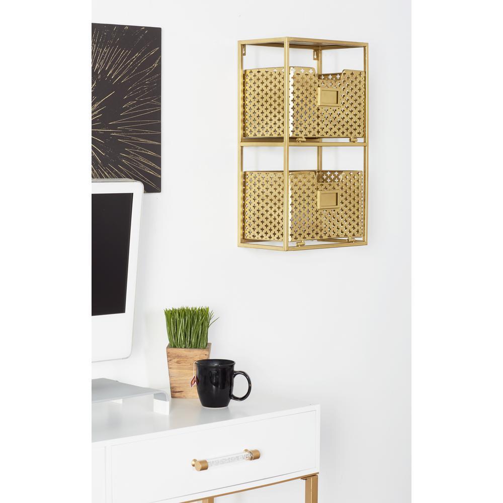 Brown Iron 2-Tier Basket Wall Rack