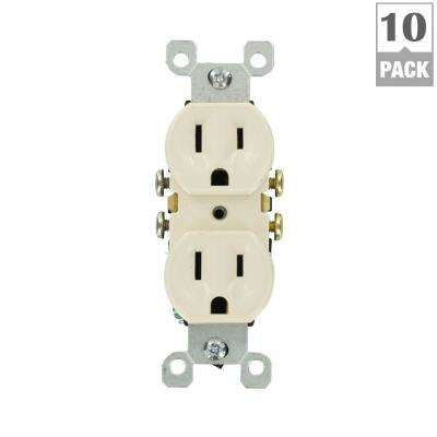 15 Amp Residential Grade Grounding Duplex Outlet, Light Almond (10-Pack)
