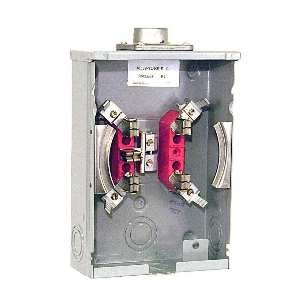 125 Amp 5-Terminal Ringless Overhead Horn Bypass Meter Socket