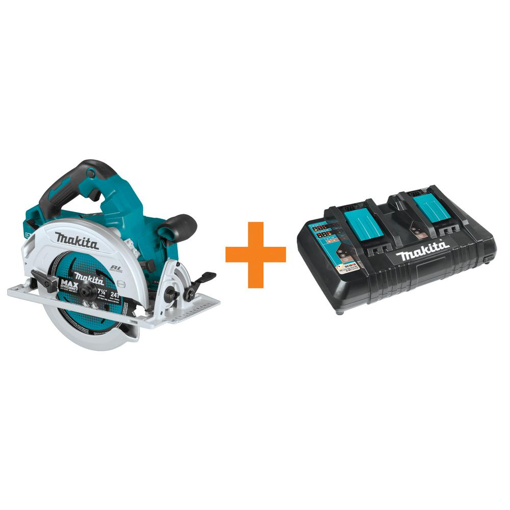 Makita 18-Volt 7-1/4 in. X2 LXT Brushless Circular Saw (Tool-Only) with Bonus 18-Volt LXT Dual Port Rapid Optimum Charger