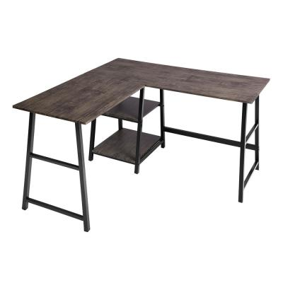 44 in. L-Shaped Walnut Computer Desk with Shelves