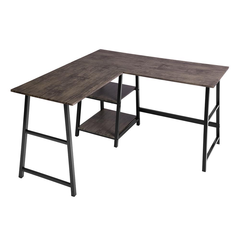 "Drogba Walnut Color L ""Shape""  Desk with Storage Shelves"