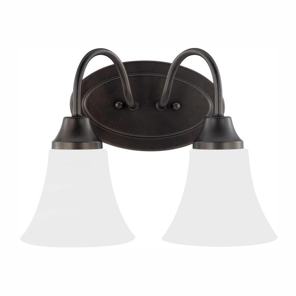Holman 2-Light Heirloom Bronze Bath Light with LED Bulbs