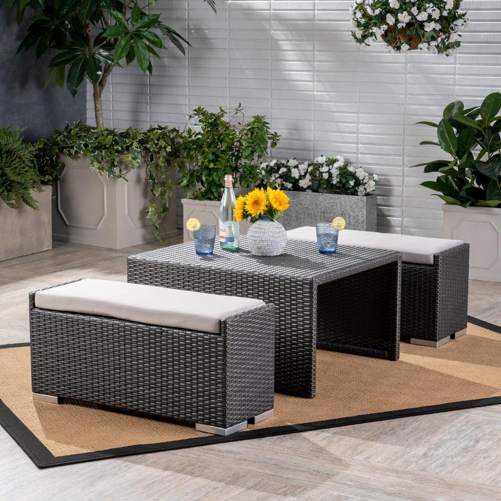 Santa Rosa Gray 3-Piece Wicker Patio Conversation Set with Silver Cushions