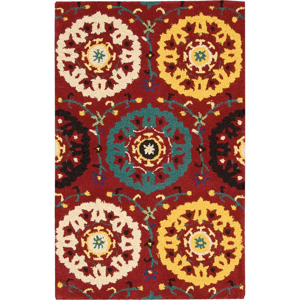 Suzani Red 2 ft. 6 in. x 4 ft. Accent Rug