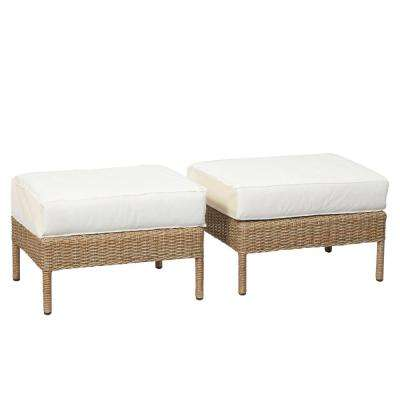 Lemon Grove Custom Wicker Outdoor Ottoman (2-Pack) with Cushions Included, Choose Your Own Color